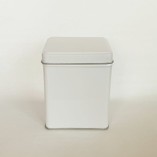 Tea storage white tin